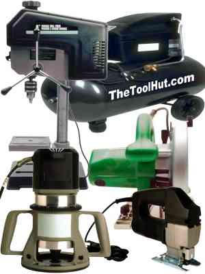 image Air compressor, drill press, circular saw, router and jig saw